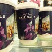 C2C Trains Promote Rail Sale with Coffee Cups