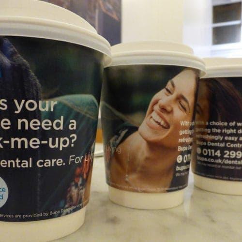 BUPA Dental Coffee Cup Advertising
