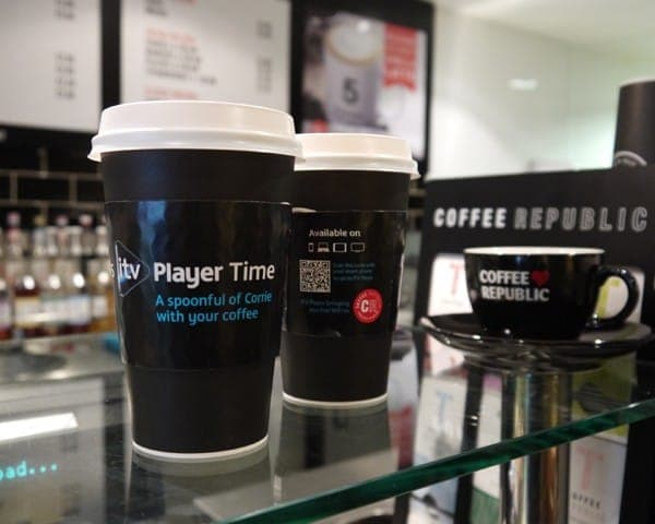 itv player coffee sleeve coffee cup advertising media (2)