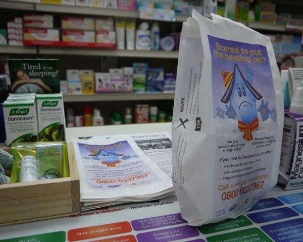 birmingham city council pharmacy bag advertising media bag media