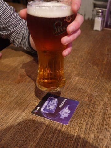 bt infinity beer mat advertising media
