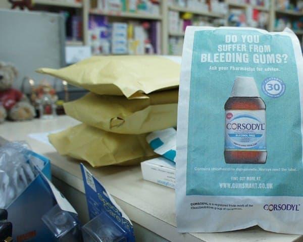 gsk corsodyl pharmacy bag advertising media bag media