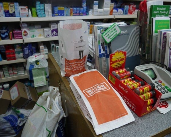 nhs bowel cancer pharmacy bag advertising media bag media