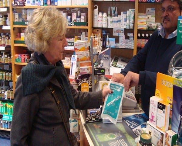 nhs flu pharmacy bag advertising media bag media