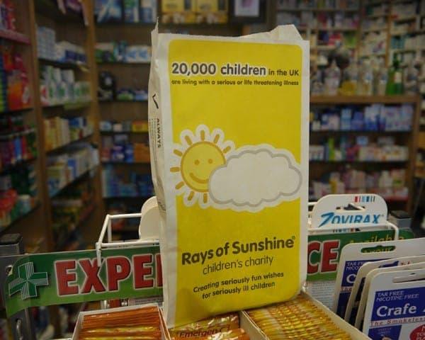 rays of sunshine pharmacy bag advertising media bag media
