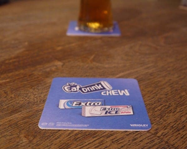 wrigleys beer mat advertising media