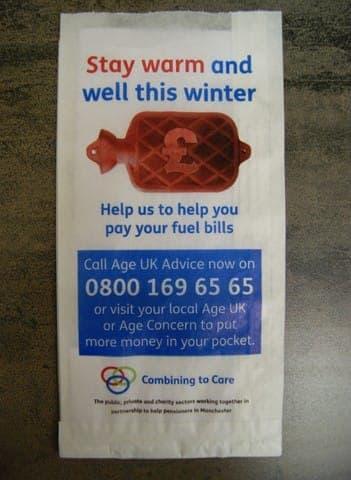 Age UK pharmacy bag advertising media bag media