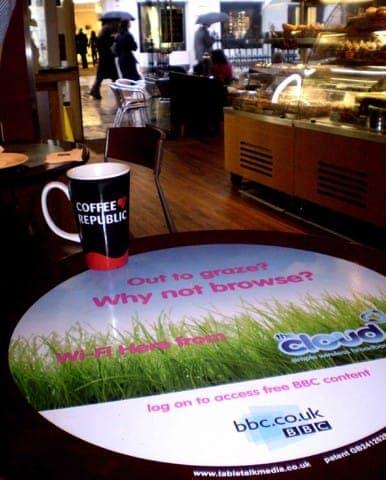bbc tablewrap table advertising media coffee culture network