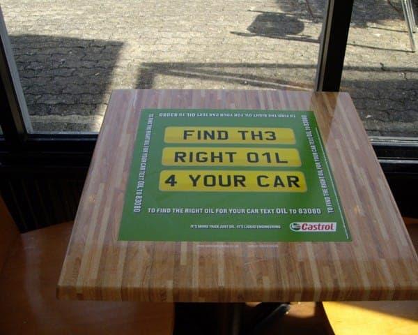 Castrol tablewrap table top advertising media msa motorway