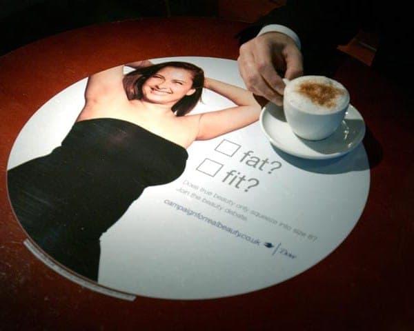 Dove - Unilever tablewrap table top advertising media coffee culture