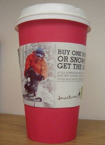 Ellis Brigham coffee sleeve coffee cup advertising media