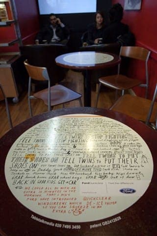 Ford tablewrap table top advertising media coffee culture