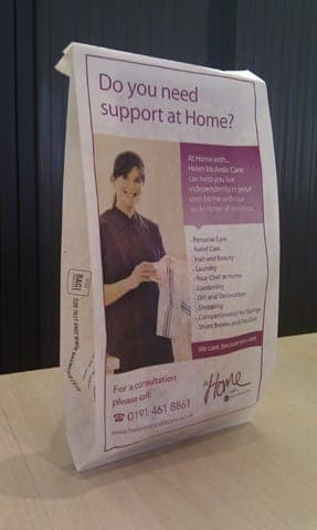 Helen Mcardle front pharmacy bag advertising media bag media