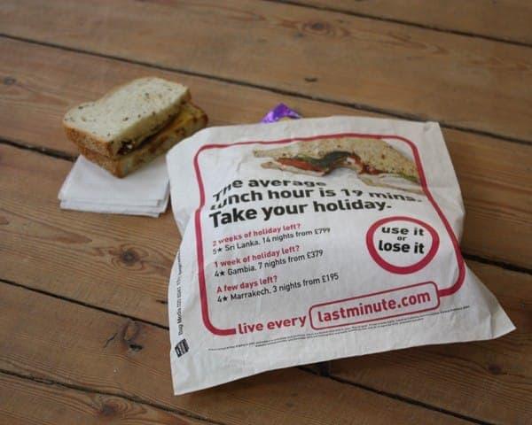 Last Minute lastminute.com sandwich bag butty bag advertising media bag media