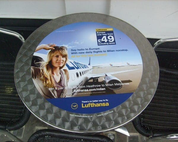 Lufthansa tablewrap table top advertising media universities