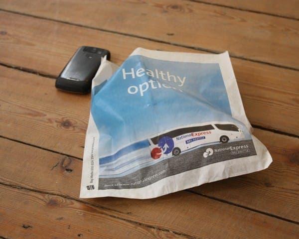 National Express sandwich bag butty bag advertising media bag media