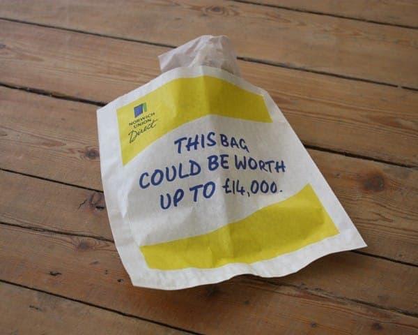 Norwich Union Direct sandwich bag butty bag advertising media bag media