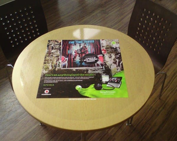 Sony Ericsson tablewrap table top advertising media universities
