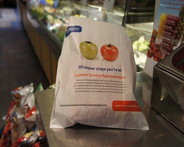 Tesco Bank sandwich bag butty bag advertising media bag media