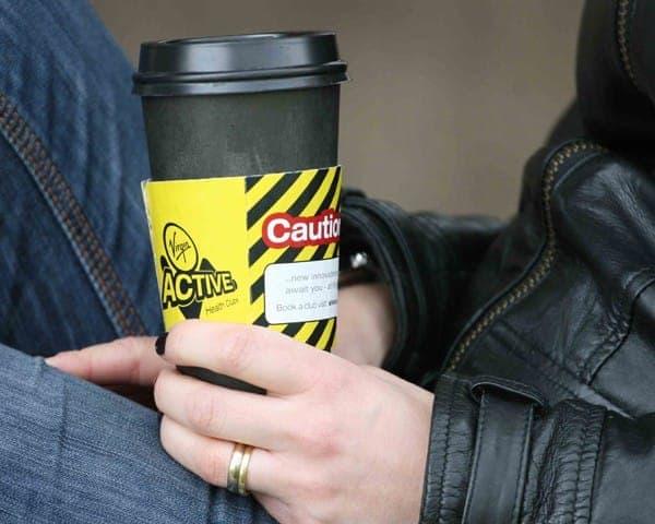 Virgin Active coffee sleeve coffee cup advertising media