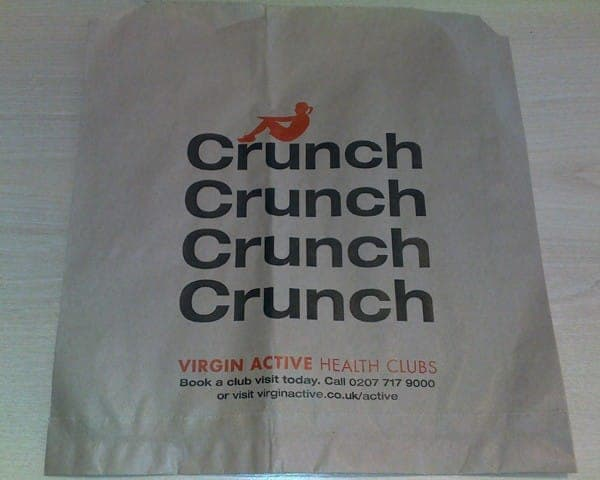 Virgin Active sandwich bag butty bag advertising media bag media