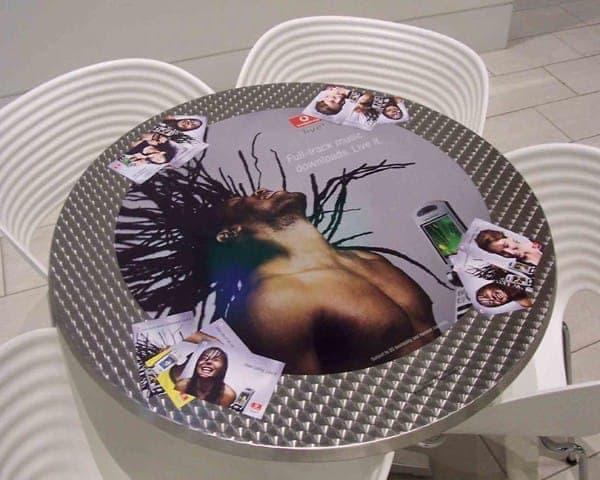 Vodafone tablewrap table top advertising media coffee culture