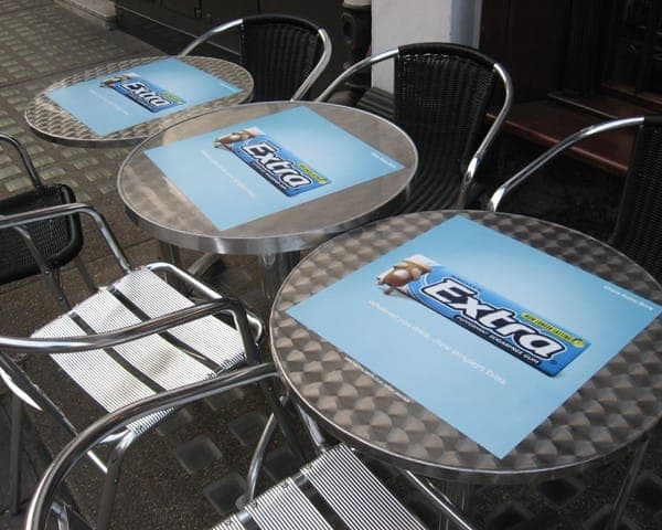 Wrigley's Extra tablewrap table top advertising media coffee culture