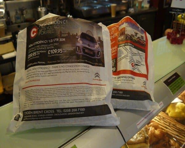 citroen sandwich bag butty bag advertising bag media sandwich bars