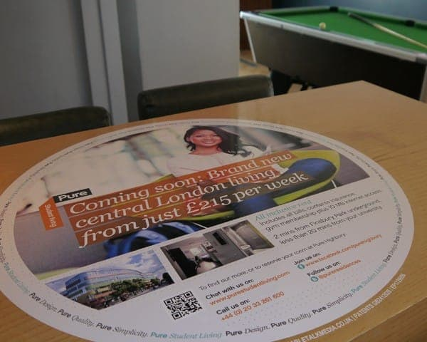 pure student living tablewrap table advertising media table clings student unions university network (2)
