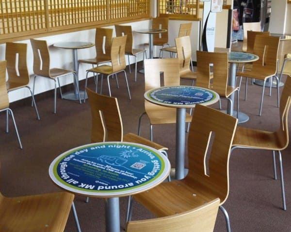 arriva tablewrap table media advertising mk milton keynes hospital