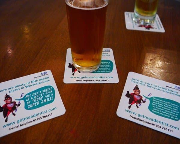 nhs worcestershire beer mat advertising media