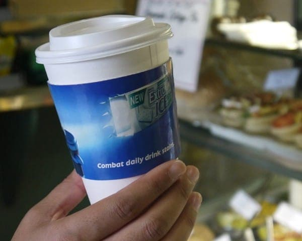 wrigleys 2012 coffee sleeve advertising media sandwich bars coffee culture network