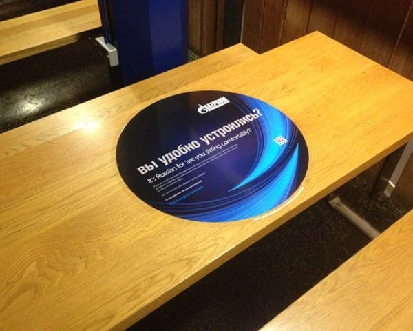 gazprom tablewrap table advertising media table clings student unions university network
