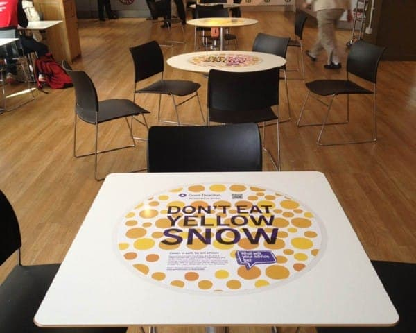 grant thornton tablewrap table advertising media table clings student unions university network