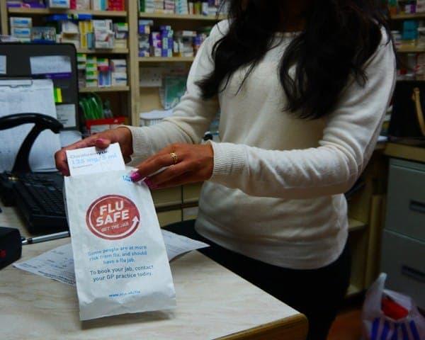 nhs onel flu safe pharmacy bag advertising media pharmacies network