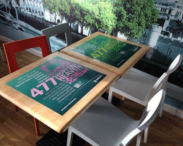 arriva tablewrap table media advertising derwent valley hospital