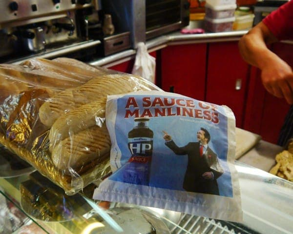 hp sauce manwich sandwich bag advertising bag media butty bag advertising sandwich bar network greasy spoon