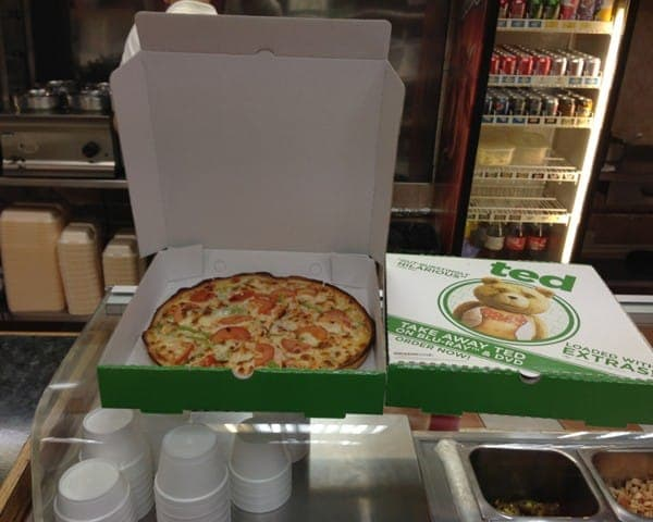 Universal Pictures TED pizza box takeaway formats advertising media takeaways