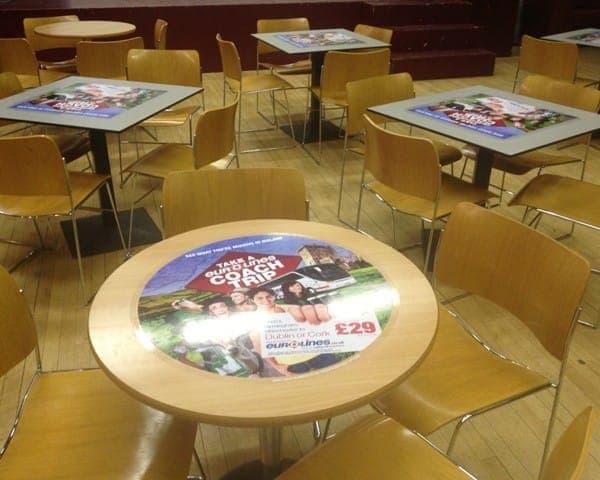 eurolines tablewrap table advertising media university network student unions
