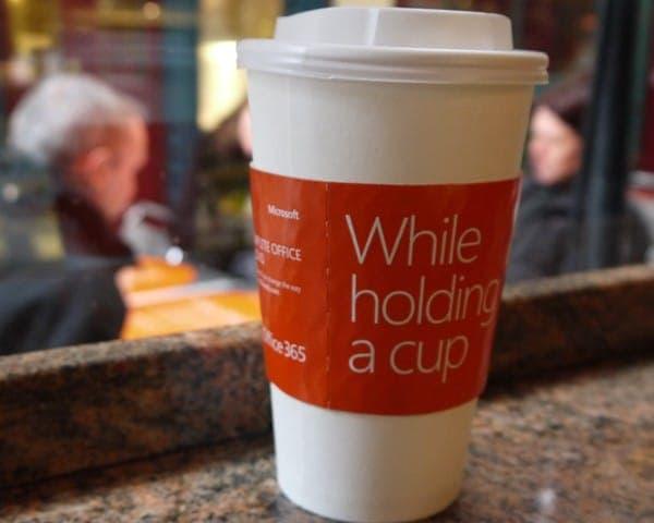 microsoft office 365 coffee sleeve coffee cup advertising media