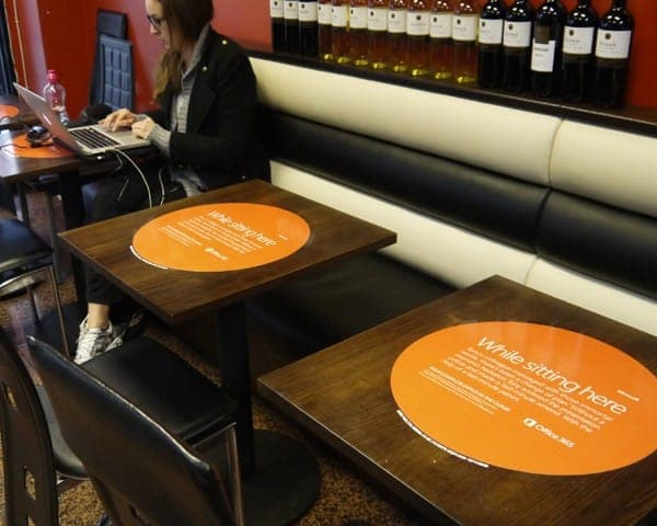 microsoft office 365 tablewrap table advertising media table clings coffee culture network cafes