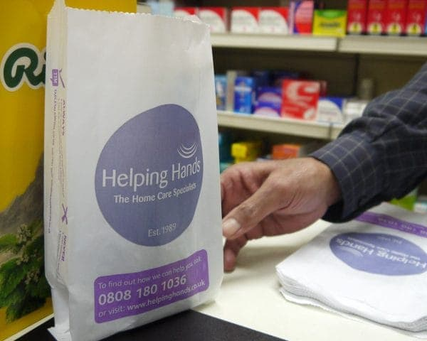 Helping Hands Home Care Pharmacy Bag Advertising