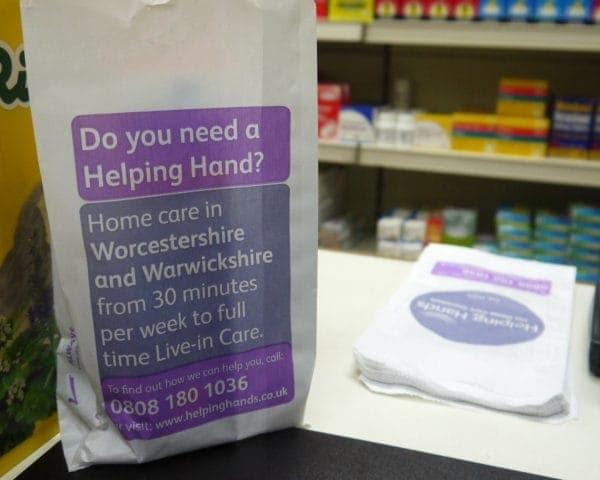 Helping Hands Pharmacy Bag Advertising