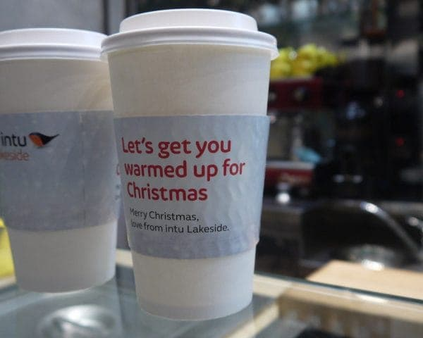 Intu Lakeside Coffee Sleeve Adverts