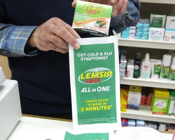 Lemsip Pharmacy Bag Advertising