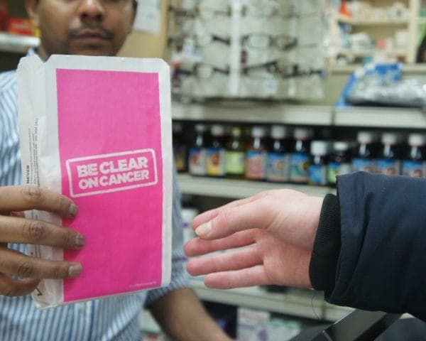 NHS- Be Clear On Cancer 2014 Pharmacy Bag Advertising