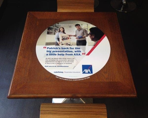 AXA Tablewrap Advertising