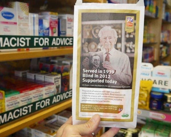 Blind Veterans UK Pharmacy Bag Advertising