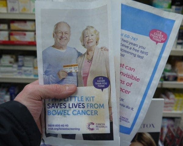 Cancer Research UK Pharmacy Bag Advertising