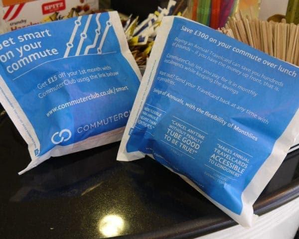 Commuter Club Sandwich Bag Advertising